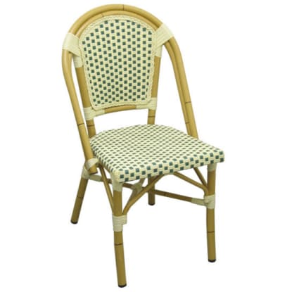 Aluminum Bamboo Patio Chair With Green and White Rattan