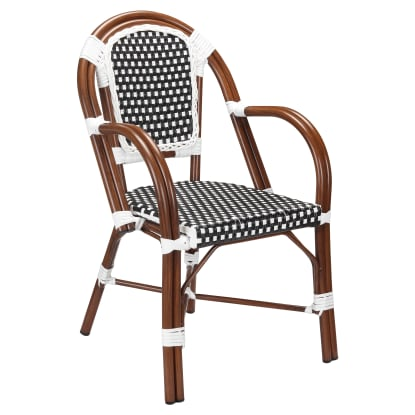 Patio Armchair With Black and White Rattan in Walnut Finish