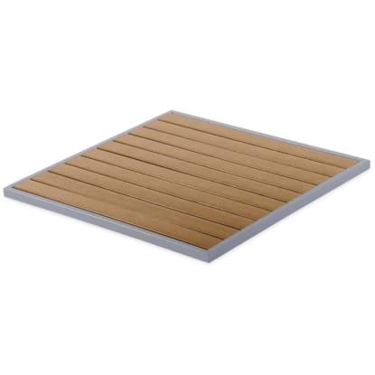 Aluminum Patio Table Top with Plastic Teak Slats - Square
