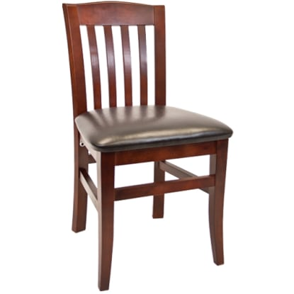 Vertical Slat Beechwood Chair - Dark Mahogany Finish with a Black Vinyl Seat