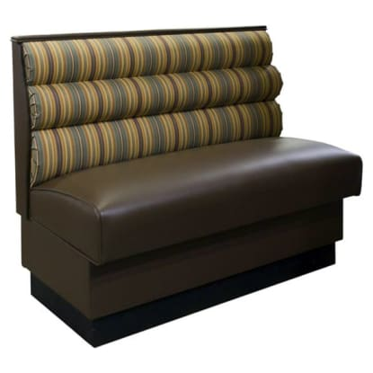Horizontal 3 Channel Back Booth with a Fabric Padded Back and Vinyl Seat - Single