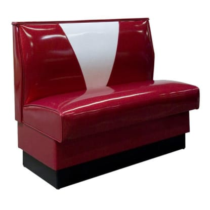 V-Shape Back Restaurant Booth with Red and White Vinyl - Single