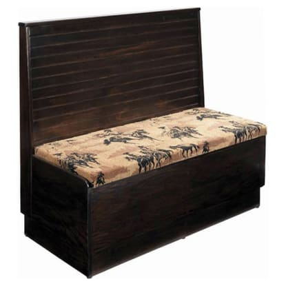 Wood Platform Booth with Bead Board Back with a Fabric Seat- Single