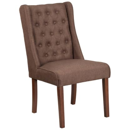 Extra Wide Button Tufted Parsons Wood Chair