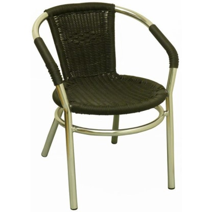 Aluminum Patio Arm Chair with Faux Black Rattan
