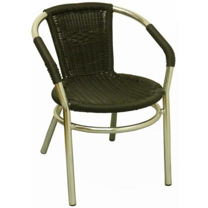 Aluminum Patio Arm Chair with Faux Black Rattan