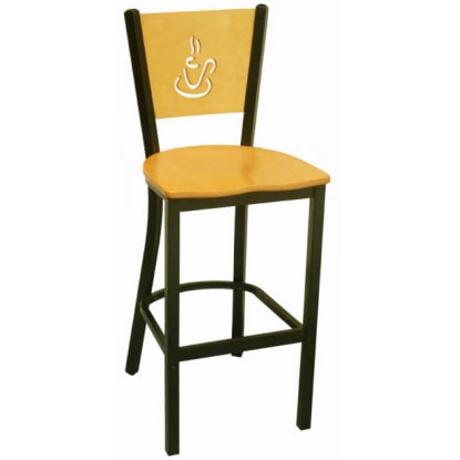 Interchangeable Coffee Back Metal Bar Stool