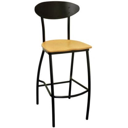 Modern Oval Back Metal Bar Stool