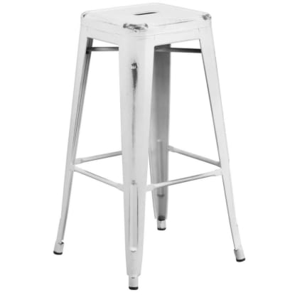 Backless Distressed White Bistro Style Bar Stool