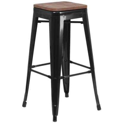 Bistro Style Black Metal Backless Bar Stool with Walnut Wood Seat