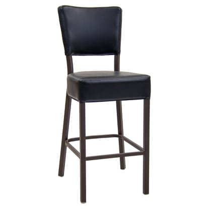 Brown Metal Bar Stool With Black Vinyl Padded Back and Seat