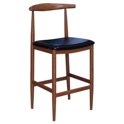 Wood Grain Metal Bar Stool in Walnut Finish