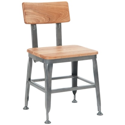 Dark Grey Industrial Style Metal Chair with Wood Back and Seat in Natural Finish