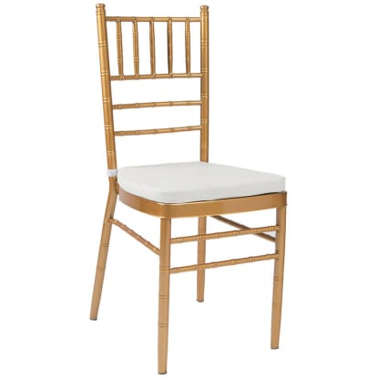 Economy Gold Metal Chiavari Chair with White Cushion