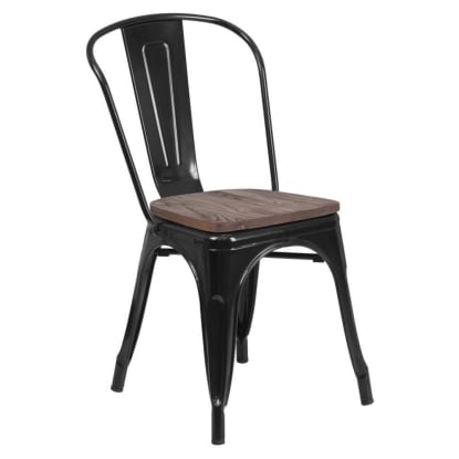 Bistro Style Black Metal Chair with Walnut Wood Seat