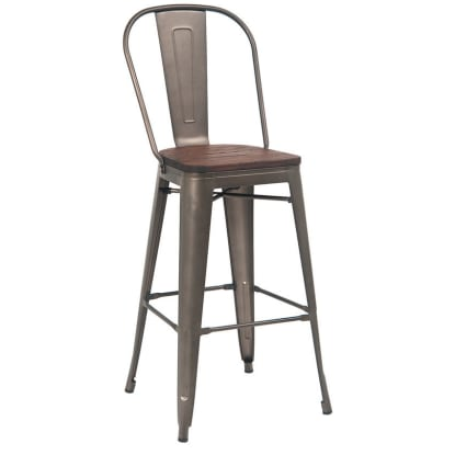Dark Grey Bistro Style Metal Bar Stool with Wood Seat in Walnut Finish