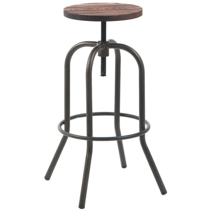 Swivel Backless Metal Bar Stool in Dark Grey Finish with Walnut Wood Seat