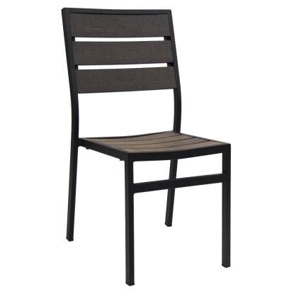 Black Aluminum Chair with Dark Walnut Plastic Teak
