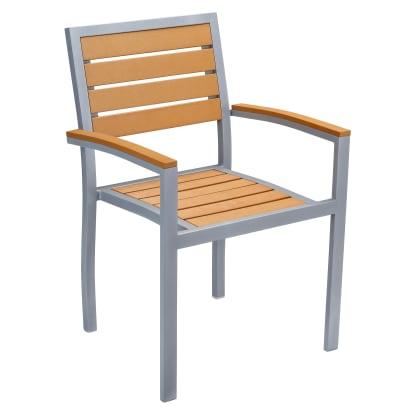 Heavy Duty Patio Arm Chair with Plastic Teak