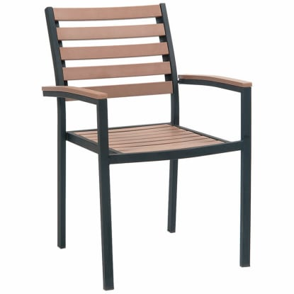 Black Metal Armchair with Natural Finish Plastic Teak