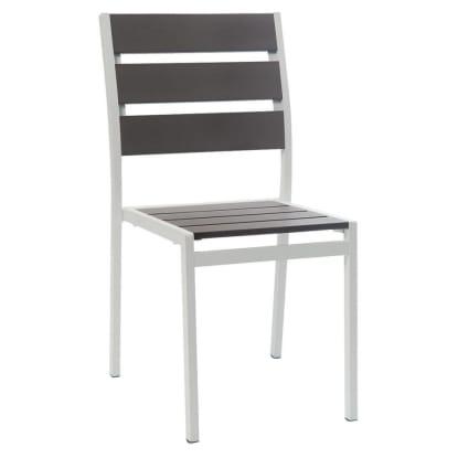 White Aluminum Restaurant Patio Chair with Grey Plastic Teak