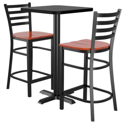 Bar Stools shown with Mahogany Wood Seat. Table Top in Black / Mahogany Finish.