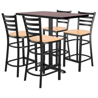 Bar Stools shown with Natural Wood Seat. Table Top in Black / Mahogany Finish.