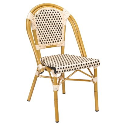 Aluminum Bamboo Patio Chair in Black and Cream Faux Rattan