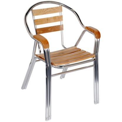 Aluminum & Wood Double Tube Patio Chair