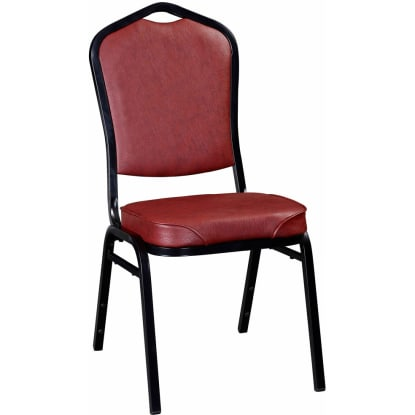 Stack Chair with Black Frame Finish and Wine Vinyl