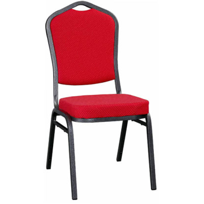Metal Stack Chair - Silver Vein Frame with Red Fabric