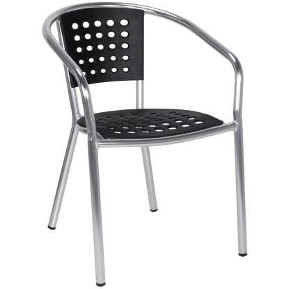 Aluminum Chair with Black Resin Seat and Back