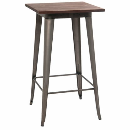 Industrial Series Bar Height Table with Metal Legs and Wood Top