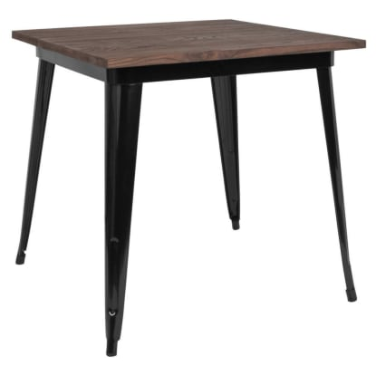 Industrial Black Restaurant Table with Walnut Wood Top