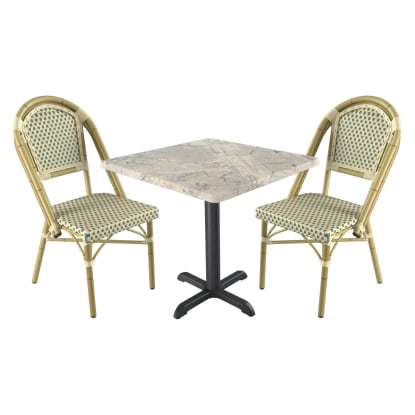 Paris Style Patio Table Set with 2 Chairs