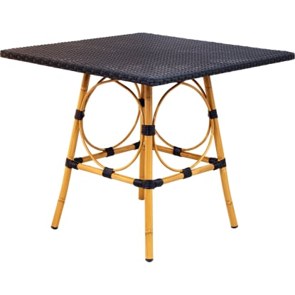 Rattan Table Top With Aluminum Bamboo Base