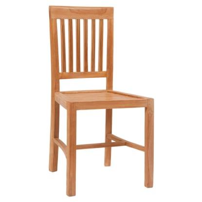 Vertical Slat Natural Teak Wood Patio Chair