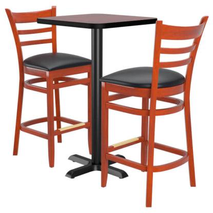 Bar Stools shown in Mahogany Finish & Black Vinyl Seat. Table Top in Black / Mahogany Finish.