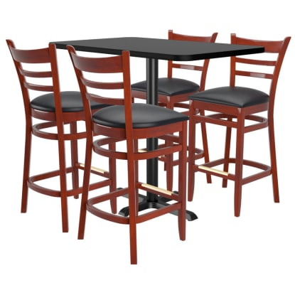 Bar Stools shown in Dark Mahogany Finish & Black Vinyl Seat. Table Top in Black / Mahogany Finish.