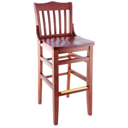 School House Wood Bar Stool - Mahogany Finish with a Wood Seat