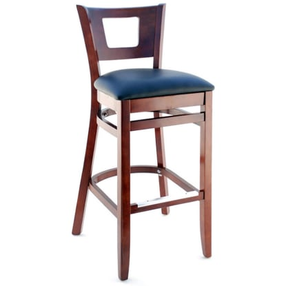 Premium US Made Duna Wood Bar Stool - Dark Mahogany Finish with a Black Vinyl Seat