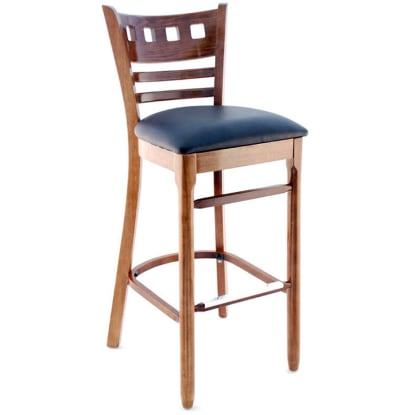 American Back Wood Bar Stool - Walnut Finish with a Buckskin Vinyl Seat