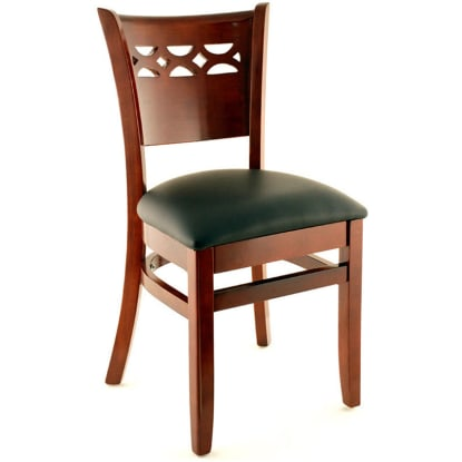 Premium US Made Leonardo Wood Chair - Dark Mahogany Finish with a Black Vinyl Seat