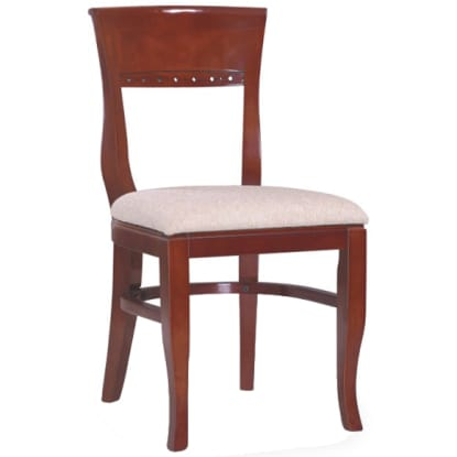 Premium US Made Beidermeir Wood Chair - Mahogany Finish with a Custom Padded Seat