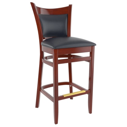 Premium Padded Back Wood Bar Stool