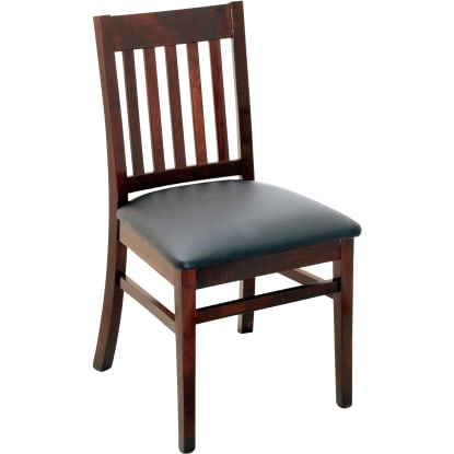 Designer Series Logan Vertical Slat Chair - Dark Mahogany Finish with a Black Vinyl Seat
