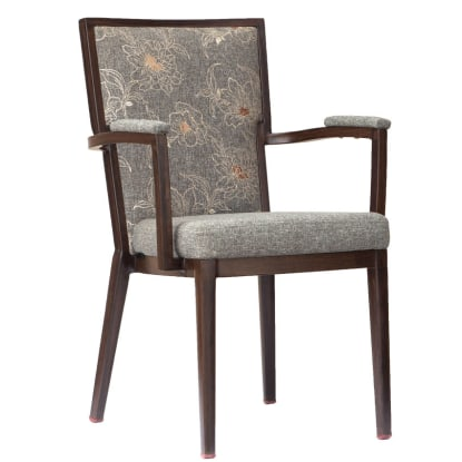Greebo High Back Wood Grain Aluminum Arm Chair