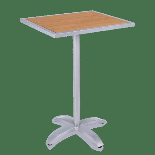 Aluminum Patio Tables with Plastic Teak Top - Bar Height