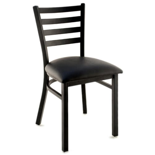 Metal Ladder Back Chair - Black Finish with a Black Vinyl Seat