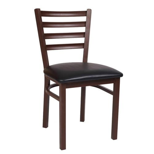 Metal Ladder Back Chair in Brown Finish